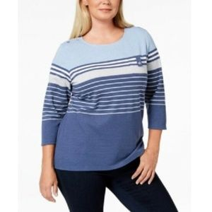 Karen Scott Women's Colorblock Striped Pullover